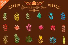 Colorful flowers set. Leaves. Vector illustration.vector set of red autumn watercolor leaves and berries, hand drawn design elemen Stock Photography