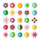 Colorful Flowers Set. Vector Flower Symbols. Colorful Flowers Set. Vector Flower Symbol Isolated on White Background stock illustration