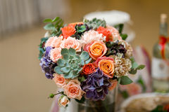 Colorful flowers on the table at the wedding Banquet Royalty Free Stock Photo