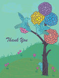 Colorful Flowers Tree Bird Relax_eps. Illustration of thank you card, colorful flowers and relax birds with tree. --- This .eps file info Version: Illustrator 8 Royalty Free Illustration