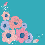 Colorful flowers on turquois background Stock Photo