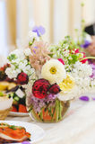 Colorful Flowers in Vase Stock Images