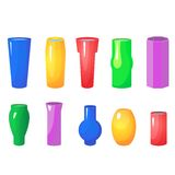 Colorful flowers vases vector set Stock Image