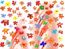 Colorful flowers on vivid abstract background. Colorful flowers of various sizes in red, pink, yellow, blue, green, golden hues on creative geometries. Abstract vector illustration
