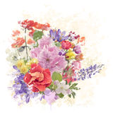 Colorful Flowers Watercolor Royalty Free Stock Photo