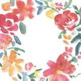 Colorful flowers wreath.Wreath, floral frame, watercolor flowers, Illustration hand painted. Isolated on white background. stock illustration