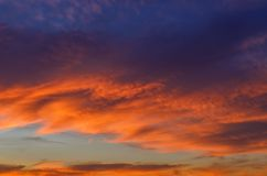 Evening cloudy sky at sunset royalty free stock image
