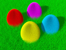 Colorful fluffy Easter eggs Royalty Free Stock Images
