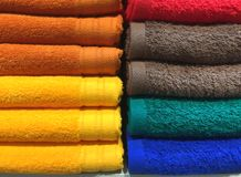 Colorful Fluffy Folded Towels Texture. Background Royalty Free Stock Photos