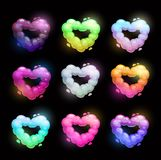 Colorful fluffy heart shape clouds. Stock Images