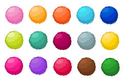 Colorful fluffy pompom fur balls isolated vector set Stock Photos