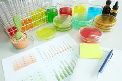 Colorful fluid and chart in glass ware Stock Images