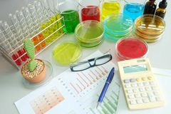 Colorful fluid and chart in glass ware Stock Photo