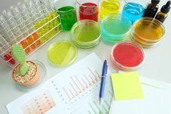 Colorful fluid and chart in glass ware Royalty Free Stock Photography