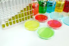Colorful fluid in glass ware Stock Images