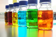 Colorful fluid in glass ware Royalty Free Stock Photos