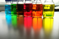 Colorful fluid in glass ware Stock Photo