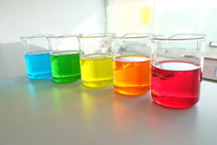 Colorful fluid in glass ware Royalty Free Stock Photo