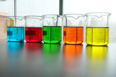 Colorful fluid in glass ware Stock Photos