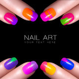 Colorful Fluor Nail Polish. Art Nail with example text. Fingers with colorful nail polish and drops of water. Manicure and makeup concept. Closeup image isolated Royalty Free Stock Images