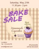 Bake sale promotion flyer with violet cupcake Stock Images