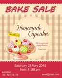Red bake sale promotion flyer with cupcakes on the plate Royalty Free Stock Photo