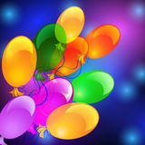 Colorful flying balloons. Holiday background with inflatable flying balloons Royalty Free Stock Image