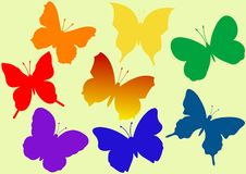 Colorful flying butterflies vector illustration Royalty Free Stock Image