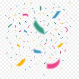 Colorful flying confetti in different focus. Celebration color ribbons. Festival decor with falling glitter. Vector. Stock Photography