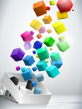 Colorful Flying Cubes Background stock illustration