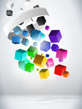 Colorful Flying Cubes Background. Vector - Colorful Flying Cubes Background stock illustration