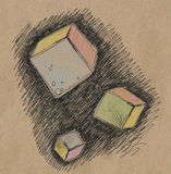 Colorful flying cubes. Tree colorful hand-drawn stylized cubes drawn by black pen and colored pencils on craft paper Royalty Free Illustration