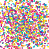 Colorful flying falling the elements of decoration of the celebration. Abstract background with falling confetti. Multicolored paper confetti on transparent stock illustration