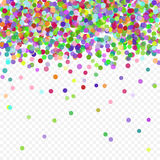 Colorful flying falling the elements of decoration of the celebration. Abstract background with falling confetti. Multicolored paper confetti on transparent Stock Image