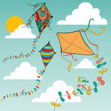Colorful flying kites Stock Photos