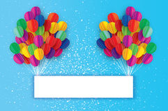 Colorful Flying Paper cut balloons. Happy Birthday Greeting card. Origami Rectangle frame - space for text. Flying Paper cut balloons with Rectangle frame Stock Images