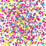Colorful flying scattered elements of decoration of the celebration. Abstract background with falling confetti. Multicolored paper confetti on transparent Stock Photo