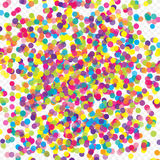 Colorful flying scattered elements of decoration of the celebration. Abstract background with falling confetti. Multicolored paper confetti on transparent Royalty Free Stock Photos