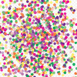 Colorful flying scattered elements of decoration of the celebration. Abstract background with falling confetti. Multicolored paper confetti on transparent Royalty Free Stock Photo
