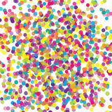 Colorful flying scattered elements of decoration of the celebration. Abstract background with falling confetti. Multicolored paper confetti on white background Stock Photography