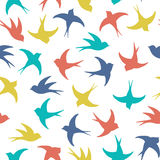 Colorful flying swallows pattern Royalty Free Stock Images