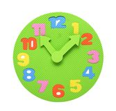 Colorful foam clockface, an educational toy Royalty Free Stock Photos