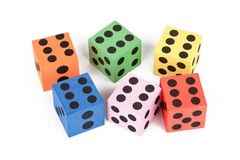 Colorful foam dice Royalty Free Stock Images