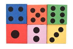 Colorful foam dice Stock Images