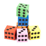 Colorful foam dice Stock Photos