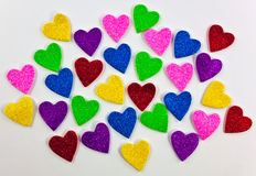 Colorful foam heart shapes Royalty Free Stock Photo