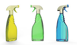 Colorful foggy spray bottles isolated Stock Photos