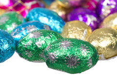 Colorful foil wrapped chocolate easter eggs stock image