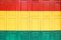 Colorful foldable wooden door royalty free stock photo
