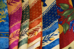 Colorful Folded Silk Scarves Stock Image